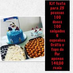 Kit festa para 25 pessoas 140,00 reais