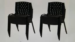 Kit com dez cadeira fixa polipropileno para igreja preta
