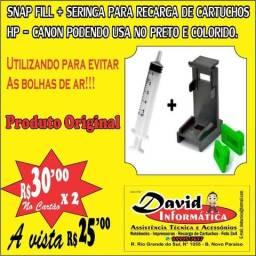 Snap Fill + Seringa Para Recarga De Cartuchos HP / Canon