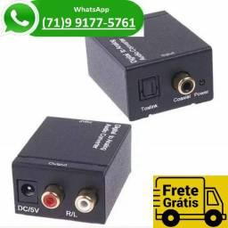 Conversor Audio Optico Digital Fibra Coaxial Rca Analógico Adaptador (NOVO)