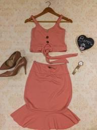 Promoção de conjunto (cropped+saia média) moda feminina