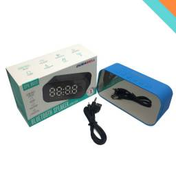Relógio de Mesa Caixa De Som Bluetooth Despertador Radio Azul