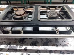 Fogão industrial de Mesa 2 bocas 30x30 Metalmaq