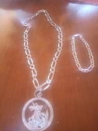 Cordão com pingente i pulseira