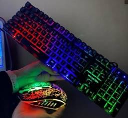 Promoção Kit Gamer Com Teclado E Mouse com led H'maston