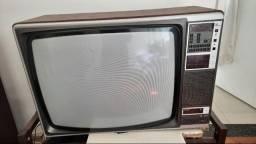Tv Televisão Philips Antiga Moldura de Madeira 26 polegadas