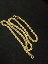 Cordao folhado ouro 18 envernizado