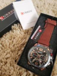 Relógio Curren 8329 quartzo  de couro de luxo para homens à prova de água