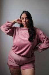 Pijama de Frio Plush Aveludado Manga Comprida  Super Confortável de Inverno do P ao 60