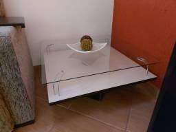 Mesa de centro sala madeira e vidro