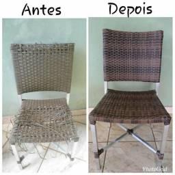 Reforma de cadeiras em junco sintético