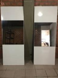 Duas portas de roupeiro com espelho