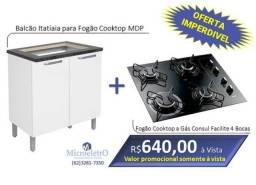 Fogão Cooktop Consul 4 Bocas + Balcão para cooktop Itatiaia MDP