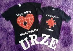 Camisas vários temas na promoção mãe e filho (a)