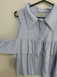 Blusa azul c/ babado Aquamar