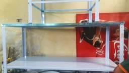 Mesa inox nova, com paneleiro. 100cmX60