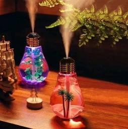 Umidificador De Ar Pequeno Em Formato De Lâmpada Com Luz Led