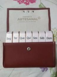 Porta Comprimido De Couro Pillbox