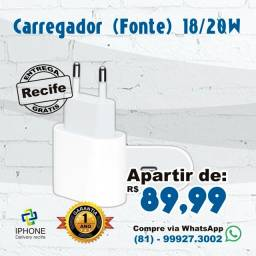 Carregador (Fonte) tipo C 20w IPhones 11 / 12 / 12 pro / 12 Pro Max (Entrega Grátis)