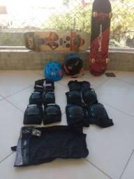 Skate com equipamento completo - 2 conjuntos