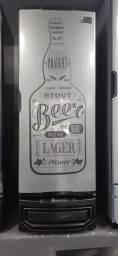 Cervejeira Porta Aço Inox Lat. Preta - 414 L.