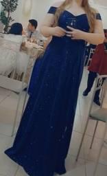 Vestido Azul Plus Size Fechamento Trançado