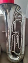 Tuba 4/4 Besson banho de prata timbre espetacular