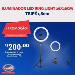Iluminador Led Ring Light 26x26cm Tripé 1,80m