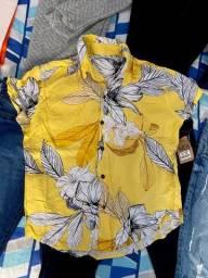Camisa de botão estampada (P)