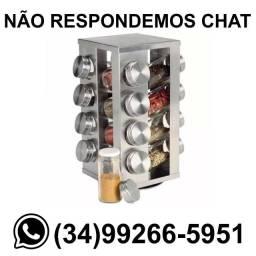 Porta Condimentos Temperos Giratório - 16 Potes Inox/Vidro