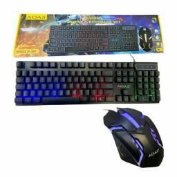 Kit Teclado e Mouse Gamer RGB LED Iluminado AOAS M-300