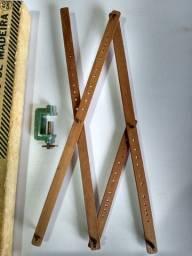 Pantógrafo Trident De Madeira 40cms ( Negraes ) - Antigo