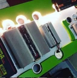 Instalação Som automotivo - modulos led som bateria paredao