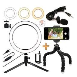 KIT Grande YouTube / blogueira / maquiagem - Ringlight Circular 16cm + tripé + microfone