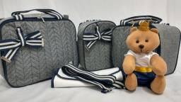 Bolsas maternidade luxo com urso decorativo