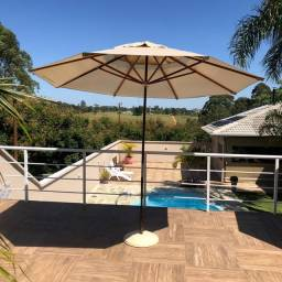 Ombrelone 2,40 MTS madeira e base alumínio,  jardim, piscina e praia
