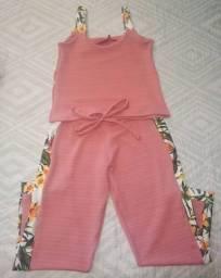Conjunto feminino : blusa e calça comprida