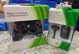 Kit Controle sem fio + Bateria recarregavel  para Xbox 360