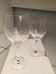 Conjunto 12 taças cristal (vinho e água)
