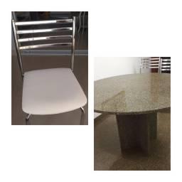 mesa granito e 6 cadeiras