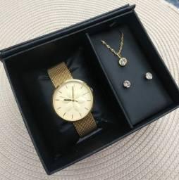 Kit Relógio Lince Dourado Feminino