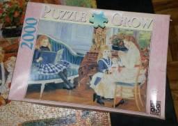 Quebra cabeça antigo Grow de 1993, Renoir De noite com as crianças, 2000 peças completo