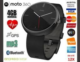 "Smartwatch Motorola Moto 360 Sport 46mm, 4GB, Tela 1.3"", GPS, Novíss, Cx, NF, Gar"