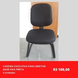 Cadeira Executiva para Diretor Base Fixa Preta