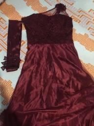 Vestido de formatura cor marsala