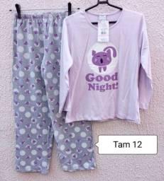 Pijama infantil Tam 12 Anos NOVO