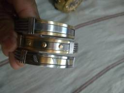 Pulseira aço com ouro