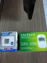 Kit aparelho de glicemia one touch select simple + aparelho de pressão omron