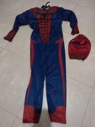 Fantasia infantil homem aranha mascara de tecidos