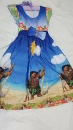 Vestido de festa moana tamanho 4-6 anos